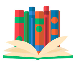 Round composition of isolated decorative symbols of school stuff books of different colour on blank background vector illustration